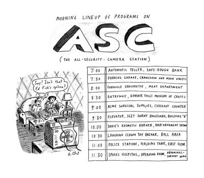 Morning Drawing - Morning Lineup Of Programs On Asc by Roz Chast