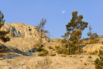 Yellowstone Photograph - Morning Mammoth Moon by Greg Norrell