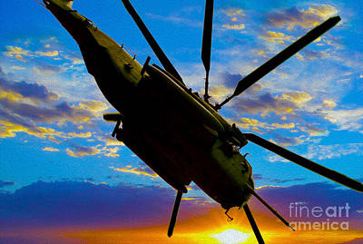 Helicopter Mixed Media - Morning Maneuvers  by Jon Neidert