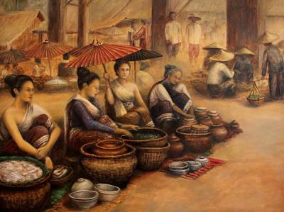 Laos Painting - Morning Market by Sompaseuth Chounlamany
