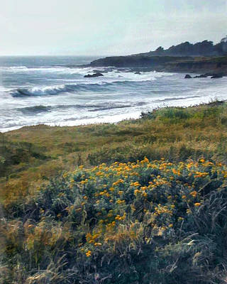 Cambria Painting - Morning Mist At Ocean Shoreline by Elaine Plesser