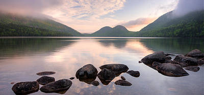 Jordan Pond Photograph - Morning Mist On Jordan Pond, Acadia by Panoramic Images