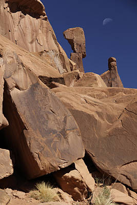 American Southwest Digital Art - Morning Moon At Arches  by Mike McGlothlen