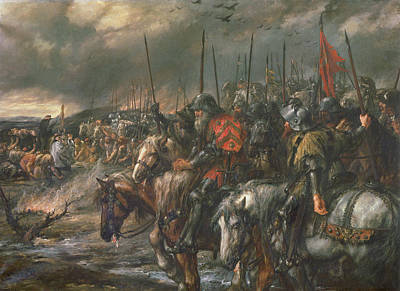 Cavalry Photograph - Morning Of The Battle Of Agincourt, 25th October 1415, 1884 Oil On Canvas by Sir John Gilbert