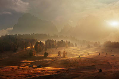 Alps Photograph - Morning On Alpine Meadow by Daniel ?e?icha