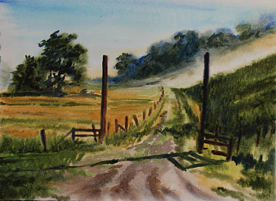 Wet Into Wet Watercolor Painting - Morning On The Farm by Heidi E  Nelson