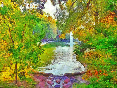 Digital Art -  Mirror Lake. The Ohio State University by Digital Photographic Arts