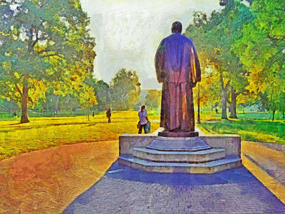 Digital Art - The William Oxley Thompson Statue. The Ohio State University by Digital Photographic Arts