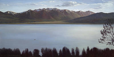 Wall Art - Painting - Morning On The Lake Snow On The Mountains by Terry Guyer