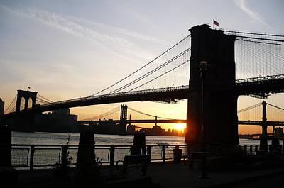 Brooklyn Bridge Mixed Media - Morning On The Manhattan Side by Marcus Malara