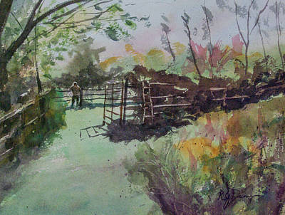 Painting - Morning On The Sheep Farm by Rebecca J Dunn