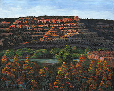 Rust Painting - Morning Over The Bluffs by Timithy L Gordon