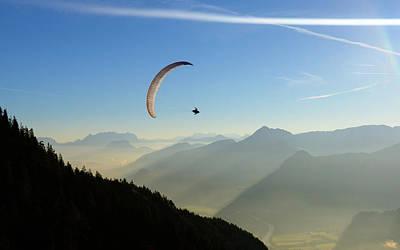 Morning Paragliding Flight Art Print by Mario Eder