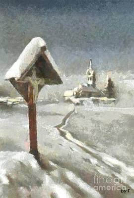 Snow Painting - A Morning Path To Mass by Dragica  Micki Fortuna