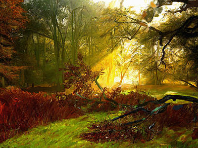 Mountain Valley Painting - Morning Rays by James Shepherd