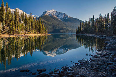 Photograph - Morning Reflection At Maligne Lake Jasper by Pierre Leclerc Photography