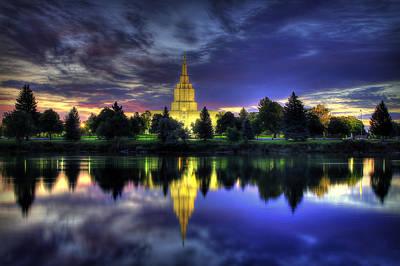 Morning Reflections Of Idaho Falls Temple  Art Print