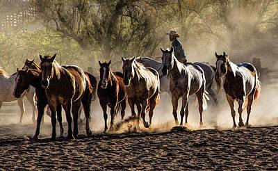 Cowboys Photograph - Morning Roundup -4462 by John Covin