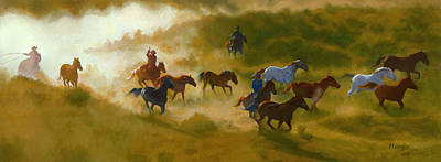 Horses Stampede Painting - Morning Roundup by Roseann Munger
