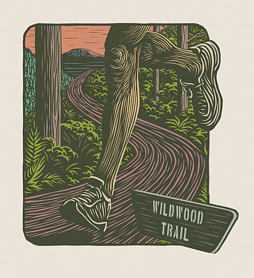 Woodcuts Digital Art - Morning Run On The Wildwood Trail by Mitch Frey