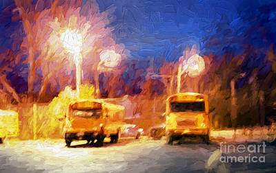 Mixed Media - Morning School Bus Painting by Andee Design