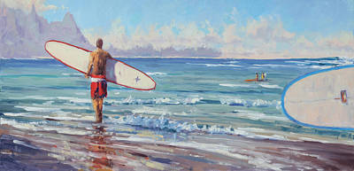 Na Pali Hawaii Painting - Morning Session by Pierre Bouret