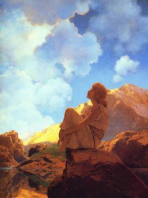 Landmarks Painting Royalty Free Images - Morning Spring Royalty-Free Image by Maxfield Parrish