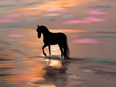 Canter Painting - Morning Stroll On The Beach by Angela A Stanton