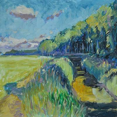 Nederland Painting - Morning Summer Light Over The Donge River by Nop Briex