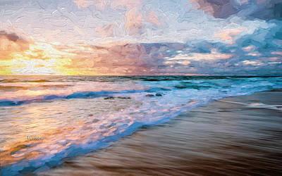 Beach Mixed Media - Morning Sun Lighting Up The Beach by Garland Johnson