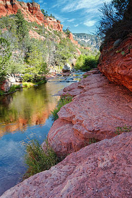 Cathedral Rock Photograph - Morning Sun On Oak Creek - Slide Rock State Park Sedona Arizona by Silvio Ligutti