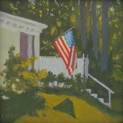 Painting - Morning Sun On Old Glory - Art By Bill Tomsa by Bill Tomsa