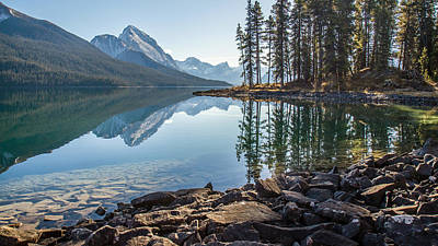 Photograph - Morning Sunlight At Maligne Lake Jasper by Pierre Leclerc Photography