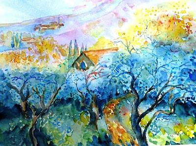 Tuscan Hills Painting - Morning Sunrise In A Tuscan Olive Grove by Trudi Doyle