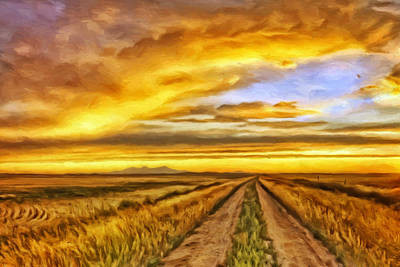 Country Dirt Roads Painting - Morning Sunrise by Michael Pickett