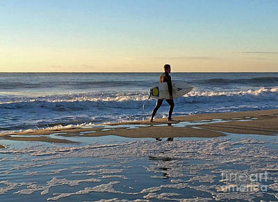 Photograph - Morning Surf Walk by Mary Haber