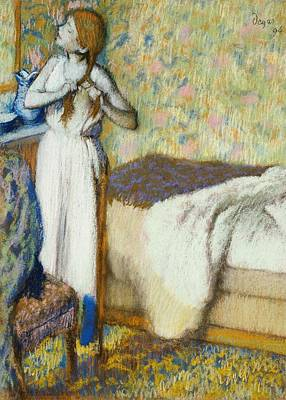 Nightgowns Painting - Morning Toilet by Edgar Degas
