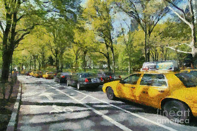 Painting - Morning Traffic Through Central Park by George Atsametakis
