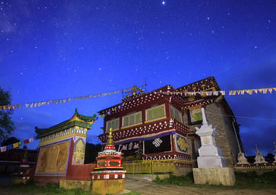 Tibetan Buddhism Photograph - Morning Twilight Paints The Sky In Deep by Jeff Dai