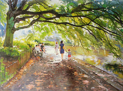 Morning Walk On Stephens Green Dublin Original by Conor McGuire