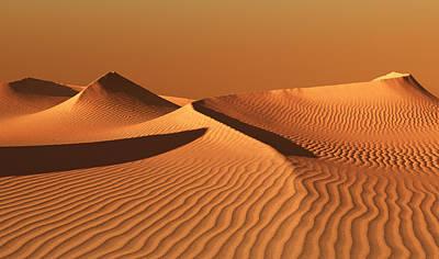Moroccan Digital Art - Moroccan Desert Landscape With Orange Sky. Dunes Background by Bijan Studio