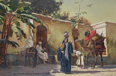 Fountain Painting - Moroccan Scene by Rudolphe Ernst