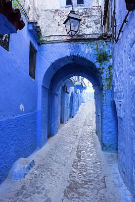 Hill Town Photograph - Morocco A Blue Alley In The Hill Town by Brenda Tharp