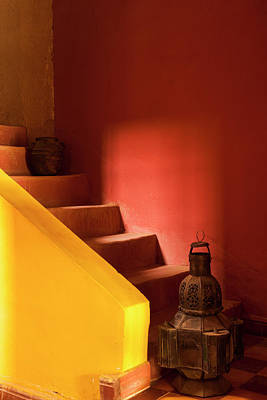 Morocco An Old Lantern And Jug On Steps Art Print