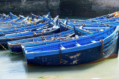 Morocco, Essaouira, Boats In Harbor Art Print by Emily Wilson