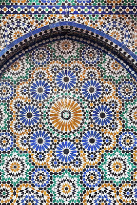 Africa Tiles Photograph - Morocco, Fes A Detail Of A Mosaic Tiled by Brenda Tharp