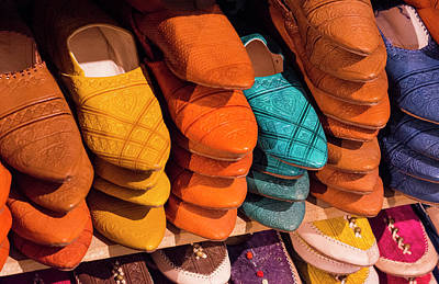 Fez Photograph - Morocco Fez Colorful Arab Shoes by Bill Bachmann