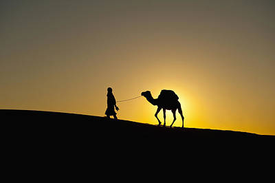 Berber Man Photograph - Morocco, Silhouette Of Berber Blue Man by Ian Cumming