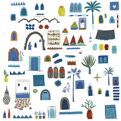 Moroccan Drawing - Morocco Sketch by Nic Squirrell