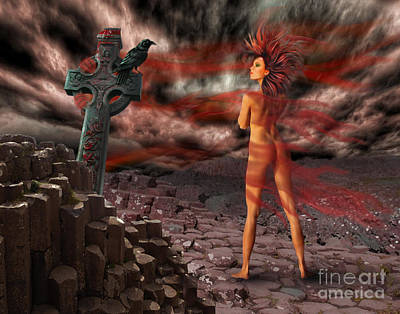 Tuatha Digital Art - Morrigu by Christy Nicholas
